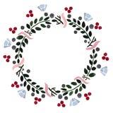 Kwiecista rama: wianek z jagodami i kwiatami Zdjęcie Stock