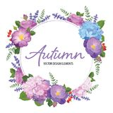 Kwiecista rama z jesieni hortensi kwiatami, różany i lawendowy na białym tle zdjęcia stock