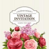 Kwiecista rama z kwiatami Kwiecisty bukiet z peonią, różany i lily karta kwitnie powitanie rocznika akwarela Zdjęcia Stock