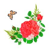 Kwiecista rama z menchia motyla i róży rocznika świątecznego tła wektorowy ilustracyjny editable ilustracji