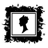 kwiecista ramowa portreta sylwetki kobieta ilustracja wektor