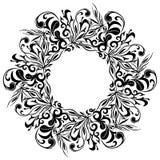 Kwiecista round rama, azjata stylu tatuaż, wektorowa ilustracja Zdjęcia Royalty Free