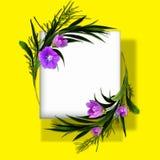 Kwiecista round rama na białym tle Mieszkanie nieatutowy, odgórny widok Ornament z menchia kwiatami i zieleń liśćmi royalty ilustracja