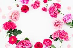 Kwiecista round rama różowe róże i anemon, peonia kwitnie na białym tle Mieszkanie nieatutowy, odgórny widok Pastel kwitnie tekst zdjęcia royalty free