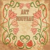 Kwiecista tapeta w sztuki nouveau stylu, wektor Zdjęcie Royalty Free