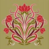 Kwiecista tapeta w sztuki nouveau stylu, wektor Fotografia Royalty Free