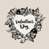 Kwiecista wektorowa projekt rama z dużym sercem Liniowe róże, eukaliptus, jagody, liście Ręka rysująca ślubna karta ilustracji