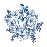 Kwiecista wektorowa projekt rama z dużym sercem Liniowe róże, eukaliptus, jagody, liście Ręka rysująca ślubna karta royalty ilustracja