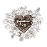 Kwiecista wektorowa projekt rama z dużym sercem Liniowe róże, eukaliptus, jagody, liście Ręka rysująca ślubna karta ilustracja wektor