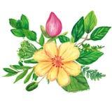 Kwiecista wianek ręka malował z nafcianymi pand kredkami Zdjęcie Royalty Free
