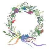 Kwiecista wianek rama Patroszeni kwiaty i liście Zdjęcia Stock