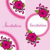 Kwiecista zaproszenie karta z jaskrawymi kwiatami ilustracja wektor