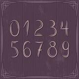 Kwieciste dekoracyjne granicy i liczby na drewnianych półdupkach Zdjęcie Royalty Free