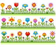 Kwieciste granicy z abstrakcjonistycznymi kwiatami wektorowymi Zdjęcie Royalty Free