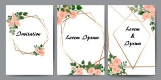 Kwieciste karty dla zaproszenia Set - wektoru zapas royalty ilustracja