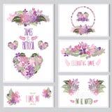 Kwieciste karty ustawiać Zdjęcia Royalty Free