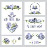 Kwieciste karty ustawiać Zdjęcie Royalty Free