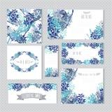 Kwieciste karty ustawiać Obrazy Royalty Free