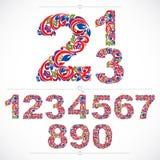 Kwieciste liczby rysować używać abstrakcjonistycznego rocznika wzór, wiosny leav Zdjęcia Stock