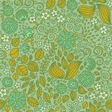Kwiecistego doodle tapetowy bezszwowy wzór ilustracja wektor