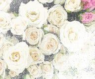 Kwiecistego grunge rocznika pasiasty tło z różami Obraz Stock
