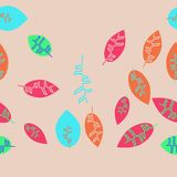 Kwiecistego koloru bezszwowy horyzontalny wzór z liśćmi, odbitkowy spac Zdjęcie Stock
