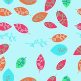 Kwiecistego koloru bezszwowy wzór z liśćmi Zdjęcie Stock
