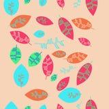 Kwiecistego koloru pionowo bezszwowy wzór z liśćmi, kopii przestrzeń Zdjęcie Stock