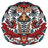 Kwiecistego liścia mandala wschodni - europejczyka styl Ręka rysujący lino rżnięty blokowy druk Ozdobny arabeskowy kwiatu okrąg S royalty ilustracja