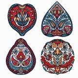 Kwiecistego liścia mandala wschodni - europejczyka styl Ręka rysujący lino rżnięty blokowy druk Ozdobny arabeskowy kwiatu okrąg S ilustracja wektor