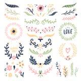 Kwiecistego ornamentu wianek Retro kwiatu zawijasa sztandar, ślubna karta kwitnie girland ramy i ornamentacyjnych dividers odizol royalty ilustracja