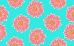 Kwiecistego różowego Gerbera bezszwowy wzór na błękitnym tle royalty ilustracja