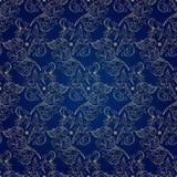 Kwiecistego rocznika bezszwowy wzór na błękitnym tle Zdjęcia Stock