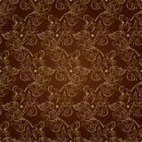 Kwiecistego rocznika bezszwowy wzór na brown tle Zdjęcia Stock