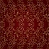 Kwiecistego rocznika bezszwowy wzór na czerwonym tle Ilustracja Wektor