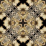 Kwiecistego z?ota 3d rocznika grecki bezszwowy wz?r Baroku Adamaszkowy ornamentacyjny t?o Elegancja złoci kwiaty, liście, geometr royalty ilustracja