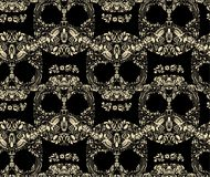 Kwiecistej ludzkiej czaszki bezszwowy deseniowy wektor Fotografia Royalty Free