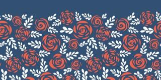 Kwiecistej wektor granicy czerwone róże na błękitny bezszwowym ilustracja wektor