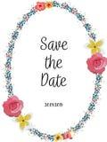 Kwiecisty Ślubny zaproszenia save daktylowa karta elegancka zaprasza karcianego wektorowego projekt: ogrodowa kwiatu bielu róża ilustracji