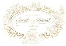 Kwiecisty Ślubny zaproszenie w Złotym kolorze royalty ilustracja