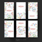 Kwiecisty abstrakcjonistyczny wektorowy broszurka szablon Ulotka układ royalty ilustracja