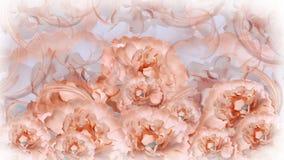 Kwiecisty błękitny tło białe kwiat peonie kwiecisty kolaż tła składu powoju kwiatu tulipany biały Obrazy Royalty Free