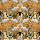 Kwiecisty barokowy bezszwowy wzór Wektorowy antykwarski złoty backgroun royalty ilustracja