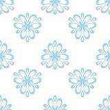 Kwiecisty barwiony bezszwowy wzór Błękitny i biały tło z fower elementami dla tapet ilustracja wektor