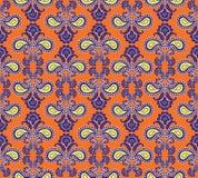 Kwiecisty bezszwowy tło. Abstrakcjonistyczna pomarańcze i fiołkowa kwiecista geometryczna Bezszwowa tekstura Zdjęcie Royalty Free