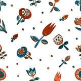 Kwiecisty bezszwowy wzór jako Skandynawski tekstylny projekt Maczki i tulipany Obrazy Royalty Free