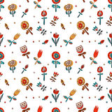 Kwiecisty bezszwowy wzór jako Skandynawski tekstylny projekt Maczki i tulipany Obrazy Stock