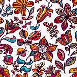 Kwiecisty bezszwowy wzór kwiaty dalej i liście  Zdjęcia Stock