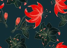 Kwiecisty bezszwowy wzór może używać dla tapety, tekstylny druk, karta Ręka rysująca wektorowa ilustracja kwiaty ilustracja wektor
