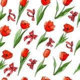 Kwiecisty bezszwowy wzór ręka rysujący graficzny i barwiony nakreślenie z czerwonymi tulipanów kwiatami, zieleń opuszcza i ono kł ilustracja wektor